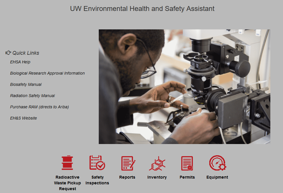 Screenshot of Environmental Health and Safety Assistant (EHSA) application