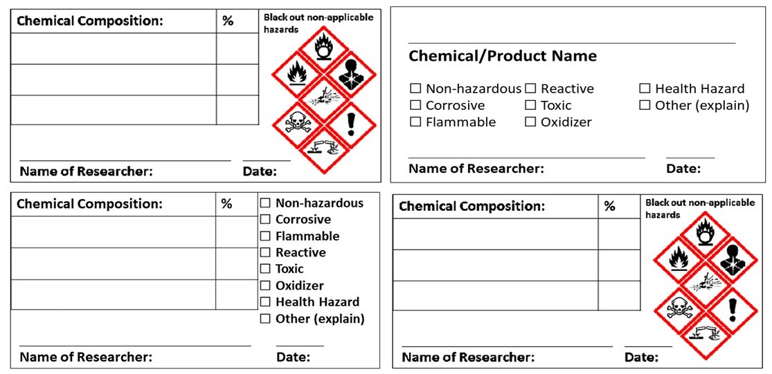 image relating to Free Printable Hazardous Waste Labels called Down load secondary chemical container labels EHS