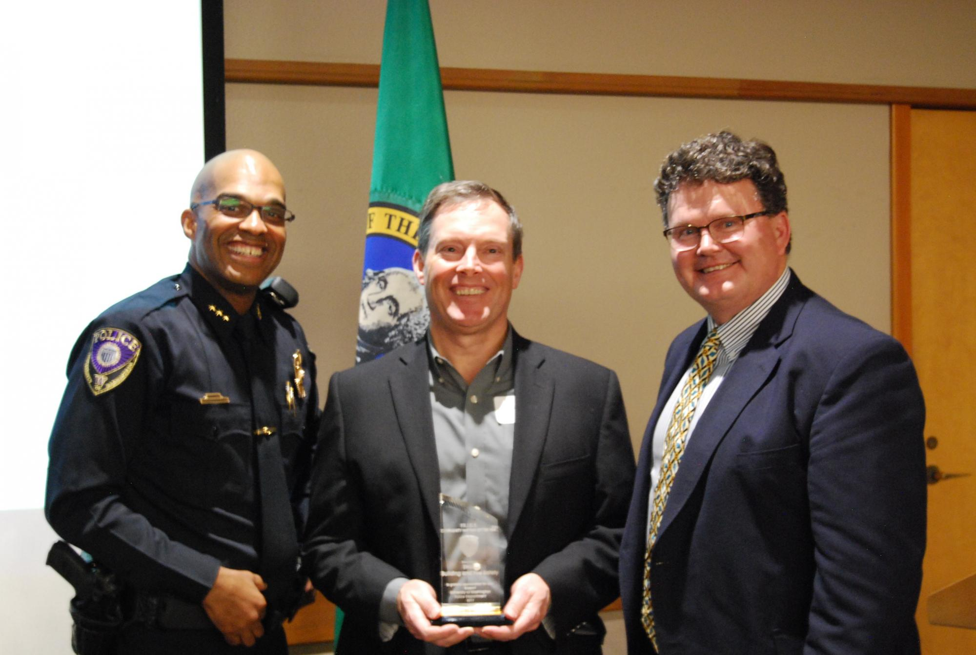 Mark and Scott accept UWPD award