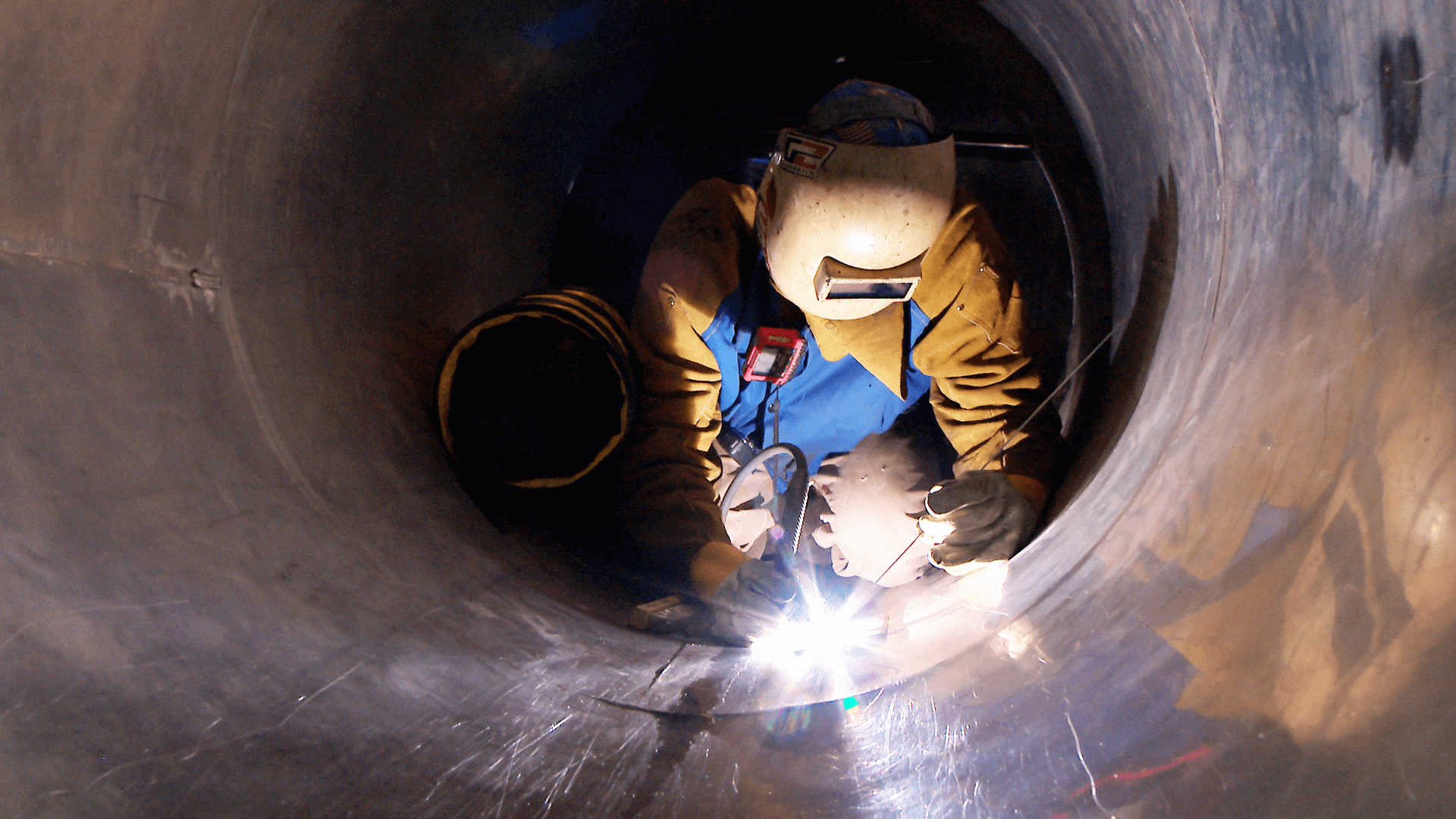 Welding in a confined space