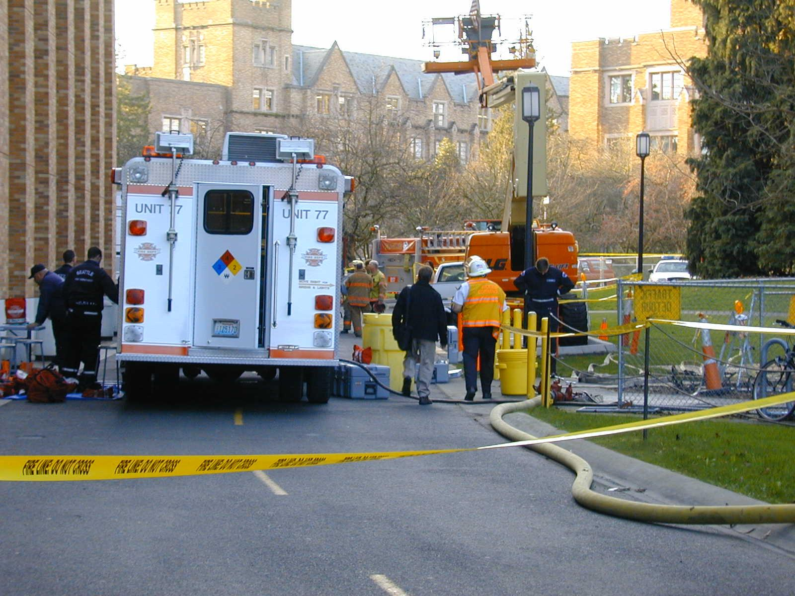 Fire department units respond to a chemical incident on campus