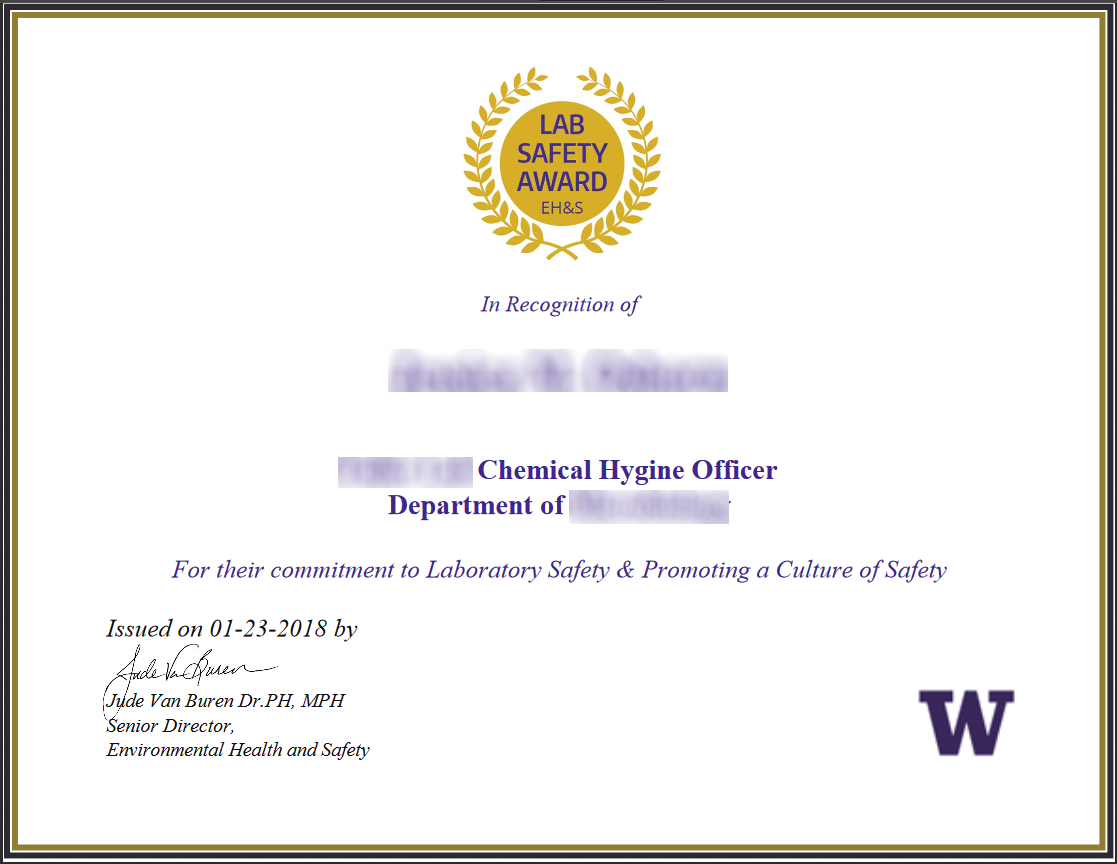 New chemical hygiene officer lab safety award ehs lab safety certificate sample yadclub Choice Image