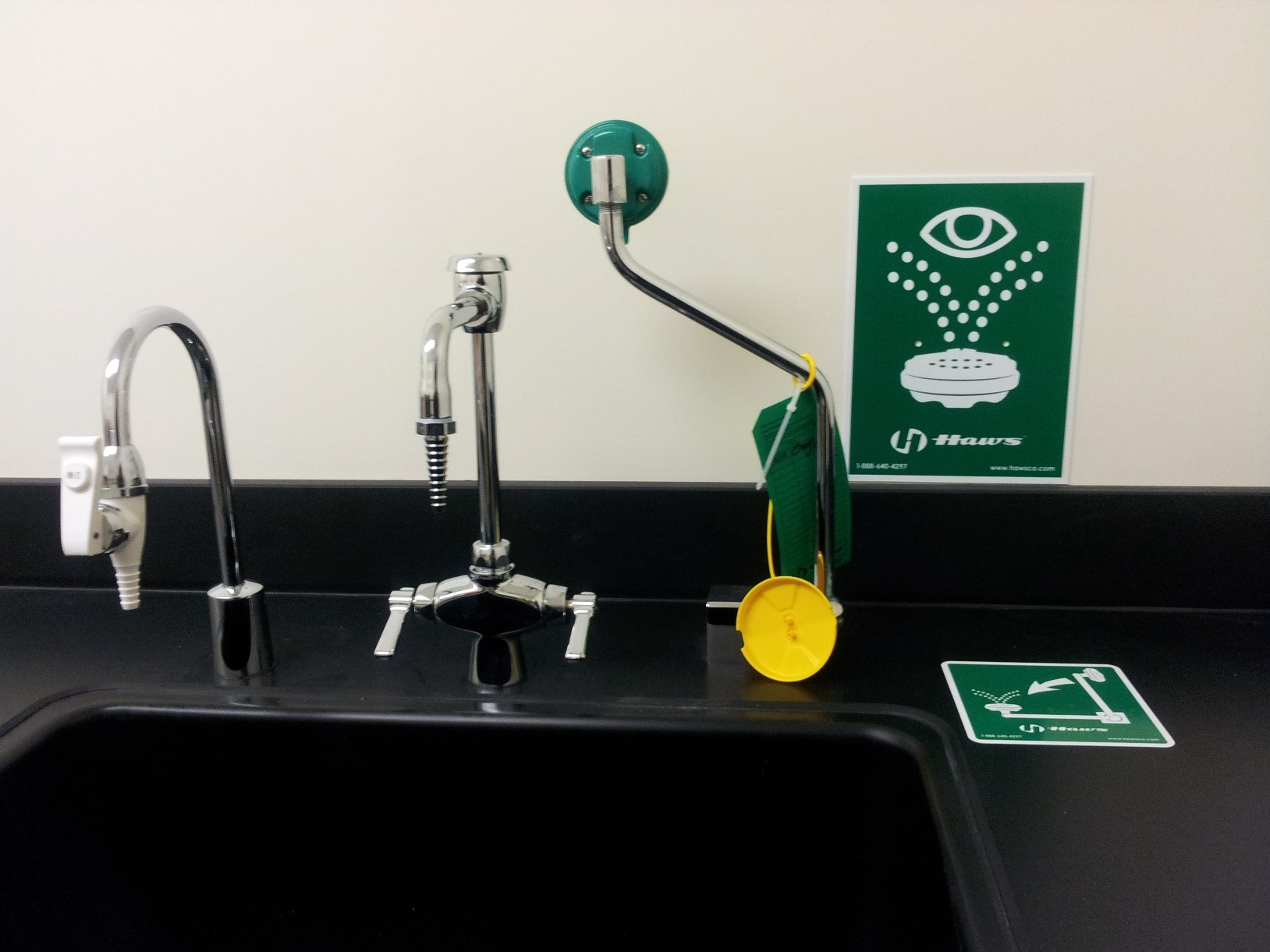 Pull-down eyewash at a laboratory sink