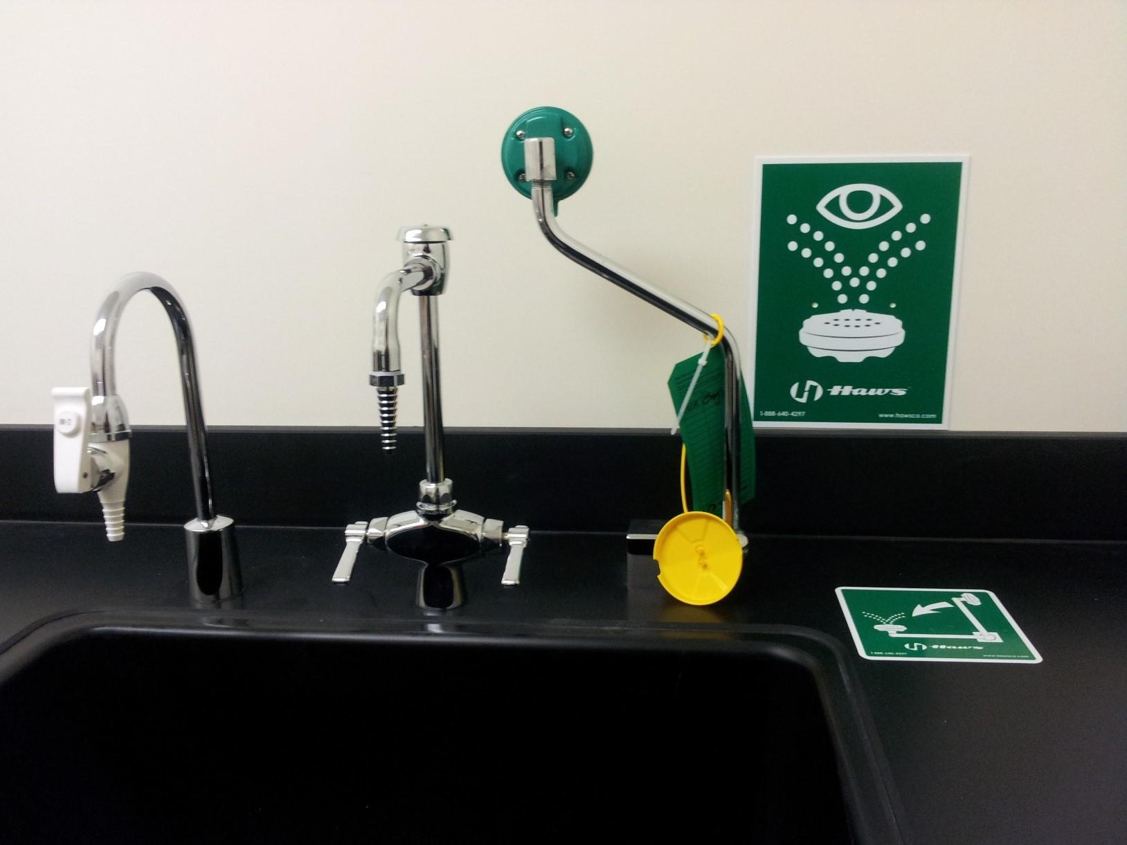 Pull-down eyewash at a laboratory sink