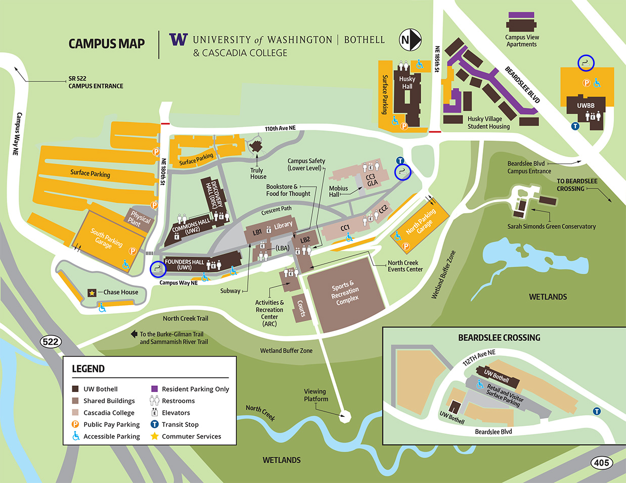 Designated Smoking Areas on the UW Bothell campus